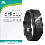 [6-PACK] RinoGear for Garmin Vivosmart HR+ Screen Protector [Active Protection] Full Coverage (Garmin Approach X40) Flexible HD Invisible Clear Shield Anti-Bubble