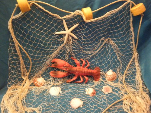 20 X 9 Decorative Fishing Net, Netting, Display, with Lobster, Starfish, Seashells, Rope and Floats