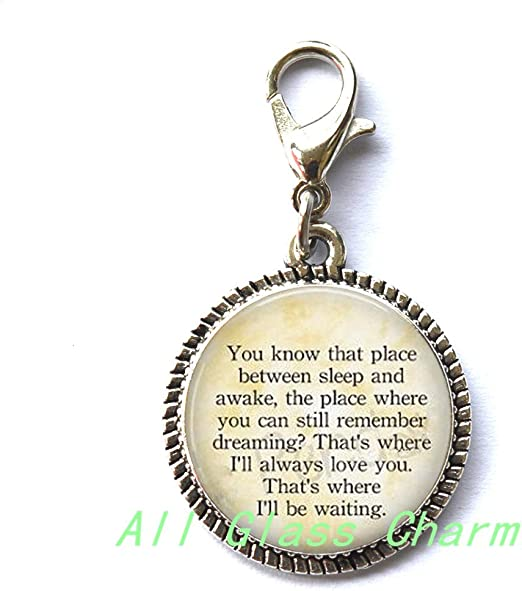Thats Where Ill be Waiting AllGlassCharm / Charming Locket Necklace,Beautiful Locket Necklace,Quote Thats Where Ill Always Love You Moon Charm,Quote Locket Pendant,Quote Locket Necklaces