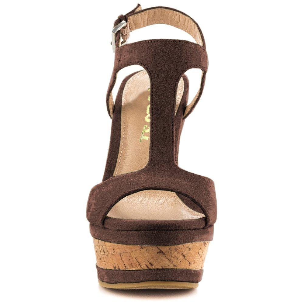 VOCOSI Women's Open Toe Faux Suede Wedges Sandals Ankle Strap B073W6Z18V Platform Sandals High Heels B073W6Z18V Strap 7 M US Dark Brown dd305f