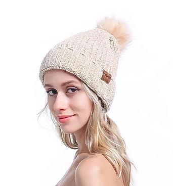 464b48ff09b MEEFUR Ladies Winter Skullies Beanie Hat Knitted Large Pom Pom Cap Ski  Snowboard Hats Girls Warm Faux Fur Bobble Headwear Beige  Amazon.co.uk   Clothing
