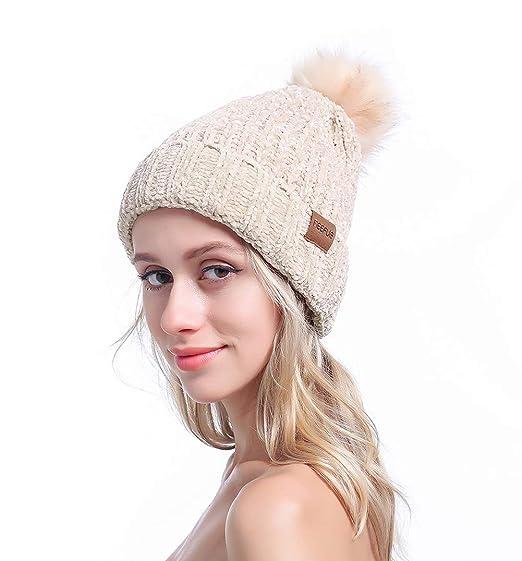 d641185a5f8 MEEFUR Women s Winter Pom Pom Beanie Crochet Adorable Trendy Hat Snow Knit  Ski Bobble Cap Beige