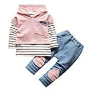 Vovotrade Toddler Kids Clothes Set Baby Boy Girls Outfits Hooded Stripe T-Shirt Tops+Pants (12M, Pink)