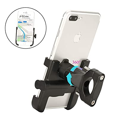 "Spritech Bike Phone Mount, Bike Motorcycle Phone Holder Alloy Handlebar Rack Fits iPhone X XR 8 7 6 | Plus, Galaxy S10 S8 S7 | Plus, All 2.4""-3.9"" Wide Electronic Device for Cycling GPS/Map/Time/Music: Home & Kitchen"