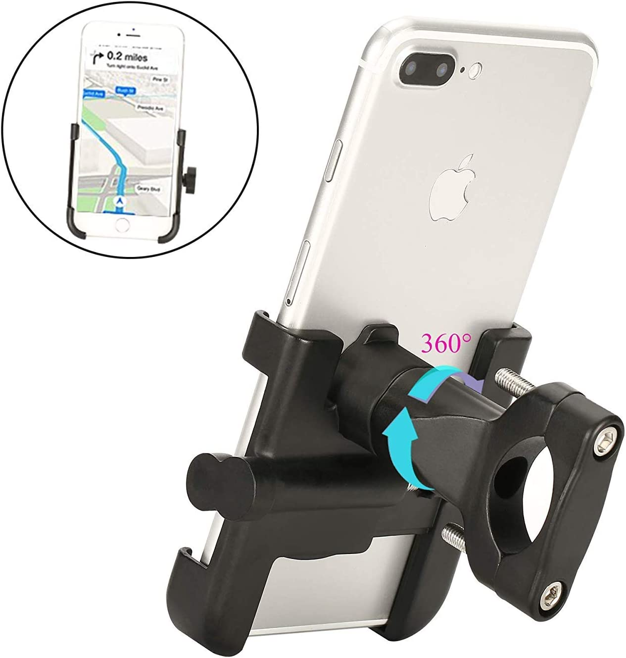 """Spritech Bike Phone Mount, Bike Motorcycle Phone Holder Alloy Handlebar Rack Fits iPhone X XR 8 7 6 