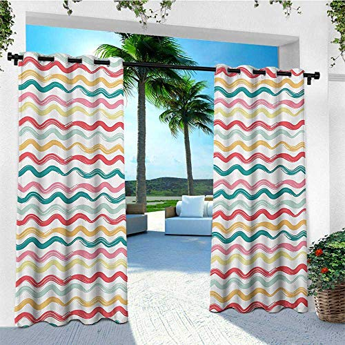 leinuoyi Striped, Porch Curtains Outdoor Waterproof, Pop Art Parallel Wavy Rough Lines Flush Brush Strokes Shaggy Groovy Boho Design, Outdoor Privacy Porch Curtains W72 x L96 Inch Multicolor