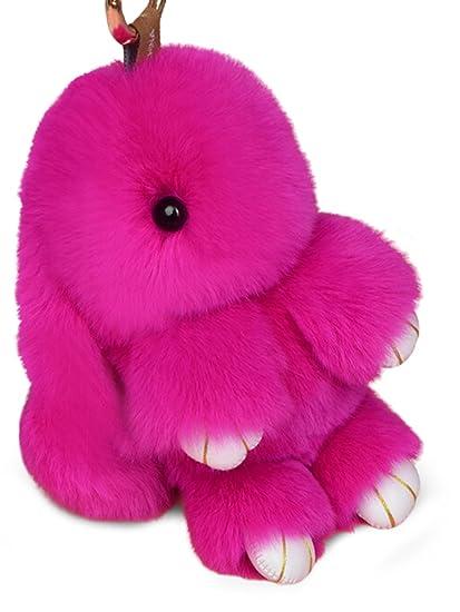 Yodensity llavero de conejo, llavero peludo de coche, colgante para bolso, talismán, para mujer, decoración, rosa (b)