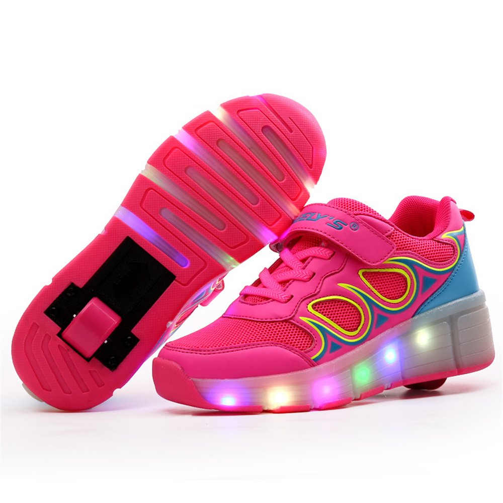 zhou decai USB Charging LED Light Up Roller Skate Shoes Flashing Sneakers for Boys Girls Kids Christmas Halloween Gift(Pink 5 M US Big Kid) by zhou decai