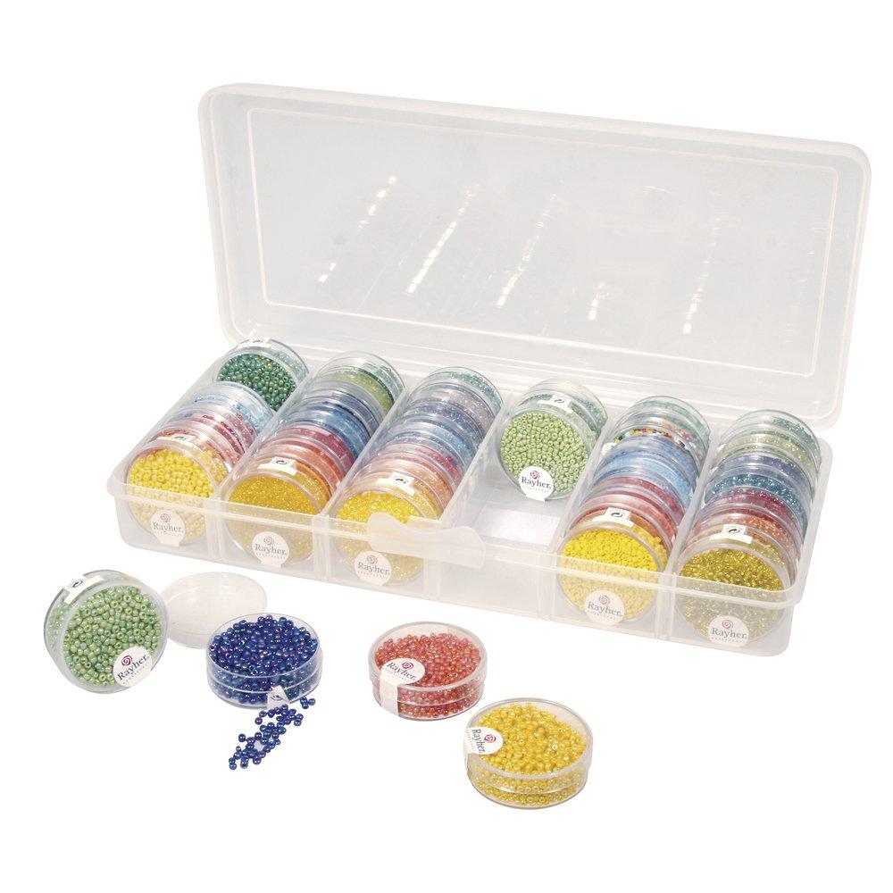 Rayher Hobby Perlen Sortierbox, für Rocailles, Aufbewahrung für Perlendosen für Rocailles 39215000