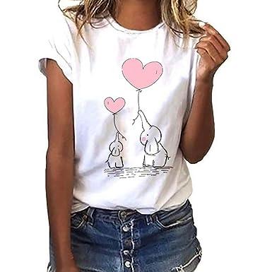 size 40 b14dd e6b61 Darringls Maglietta Manica Corta Donna Estiva Elegante Camicia,T-Shirt da  Donna Maglie Donna Taglie Forti T Shirt Donna Divertenti Stampata a Maniche  ...