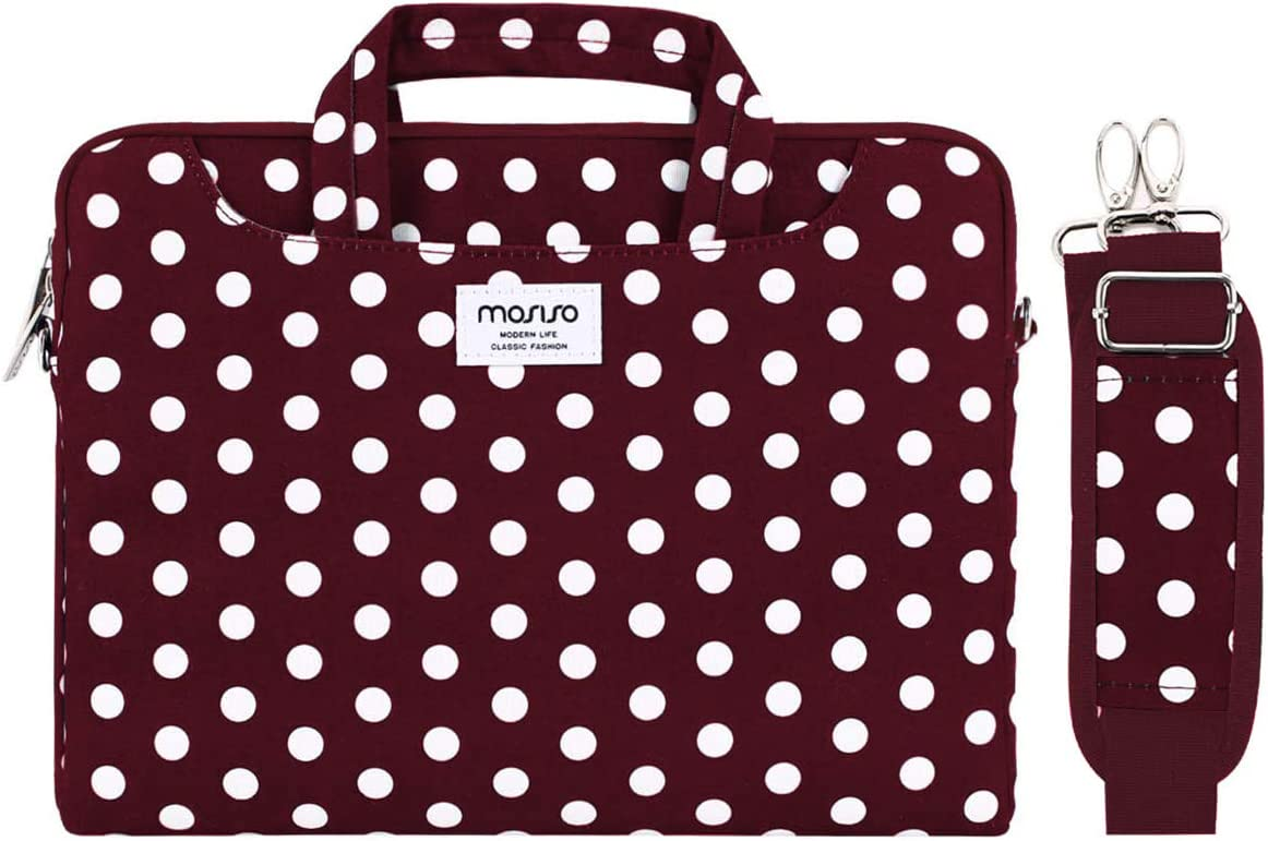 MOSISO Laptop Shoulder Bag Compatible with 13-13.3 inch MacBook Pro, MacBook Air, Notebook Computer, Dots Carrying Briefcase Sleeve with Trolley Belt, Red