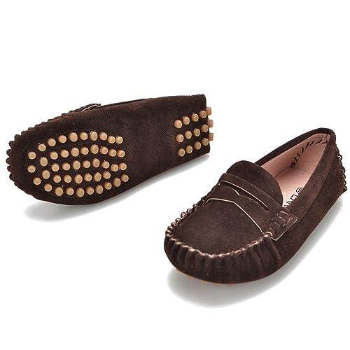 EARSOON - Mocasines de Piel Lisa para niño, Color Marrón, Talla 31 EU: Amazon.es: Zapatos y complementos