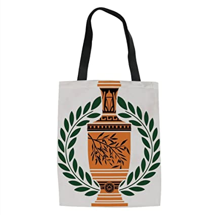 3027d1af79 IPrint Toga Party,Old Antique Greek Vase with Olive Branch Motif and Laurel  Wreath,