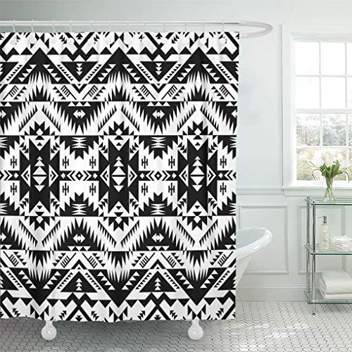 - Emvency Shower Curtain African Black and White Color Tribal Navajo Aztec Abstract Geometric Ethnic Hipster Design American Shower Curtains Sets with Hooks 72 x 72 Inches Waterproof Polyester Fabric