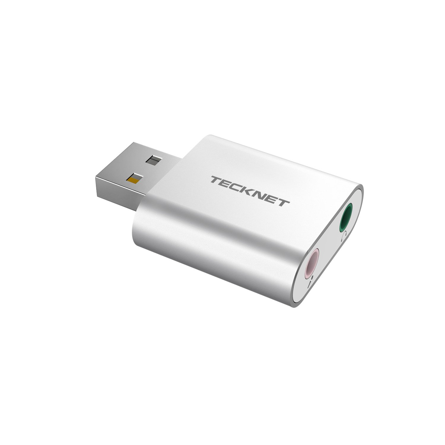 TECKNET Aluminum USB External Stereo Sound Adapter for Windows and Mac, Plug and Play, No Drivers Needed