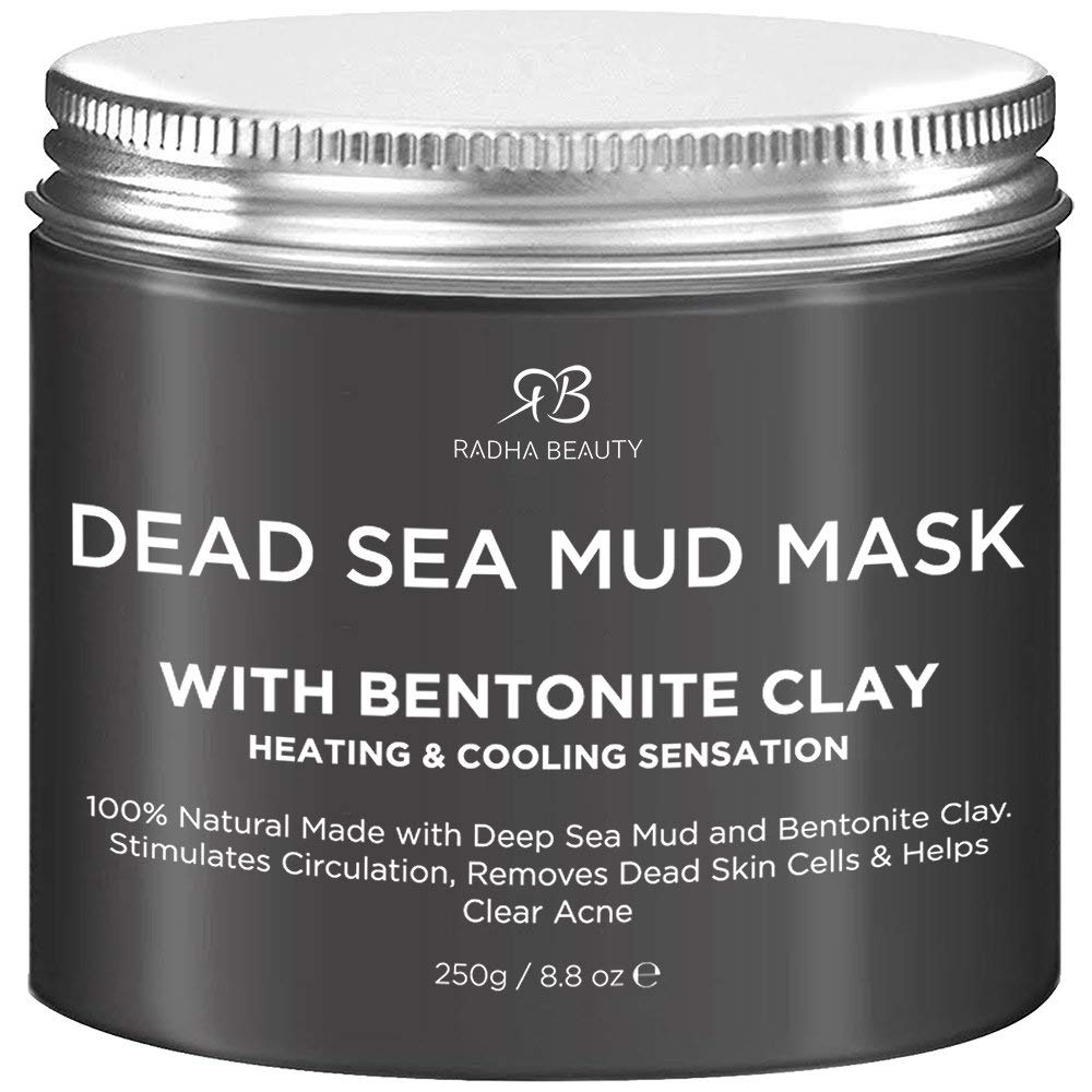 Radha Beauty Dead Sea Mud Mask with Bentonite Clay for Face & Body 8.8 oz - 100% Natural Formula to Treat Acne, Pores, Blackheads & Oily Skin - Heating & Cooling Sensation