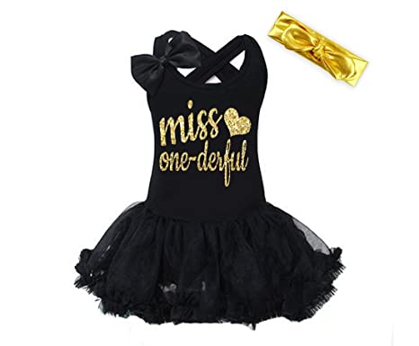 Amazon Gg Black Gold Miss One Derful 1st Birthday Dress For