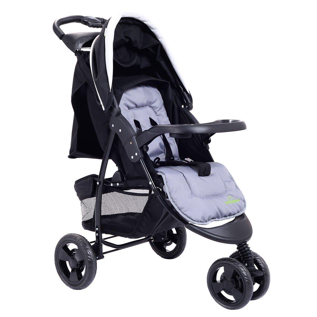 MD Group Baby Stroller 3- Wheel Balck Foldable Iron Adjustable Multi-position Backrests Kids Travel