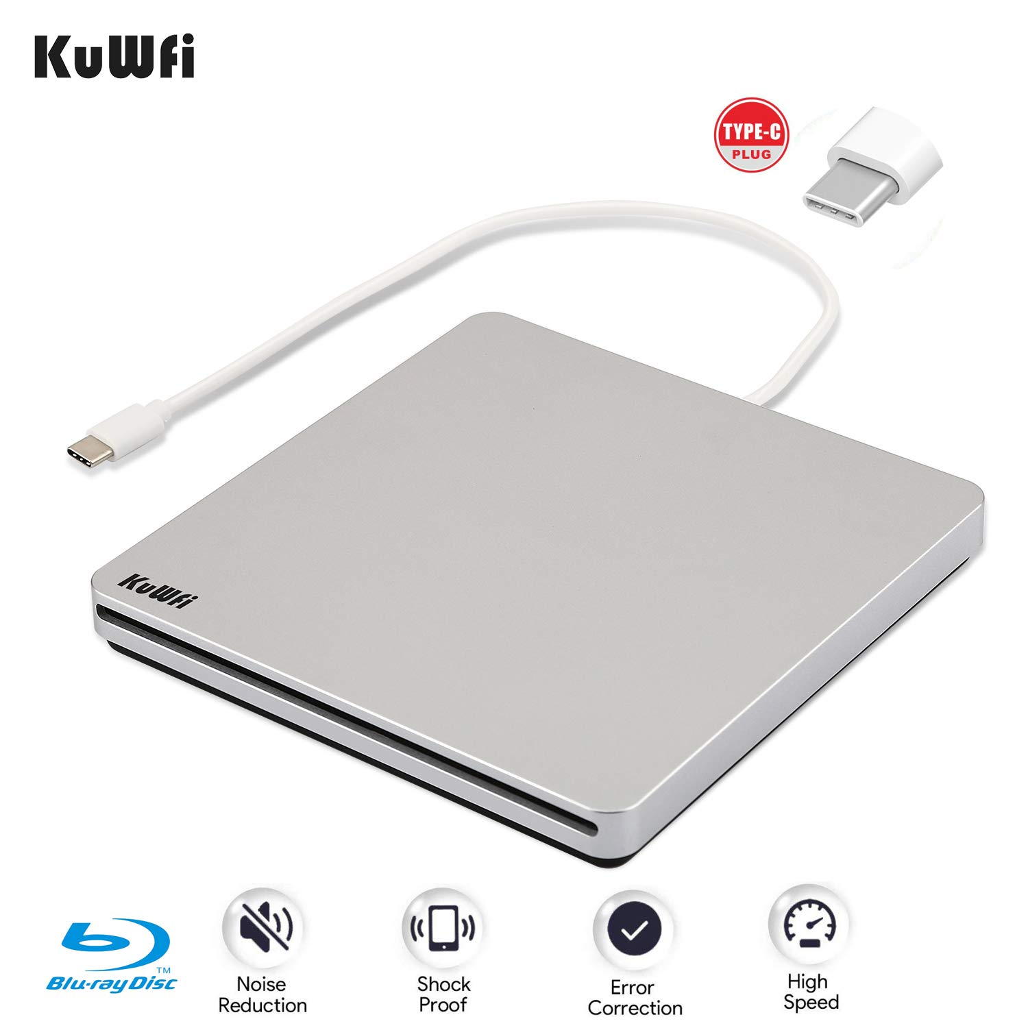 KuWFi External Blu Ray Drive USB Type-C DVD/CD Burner External DVD/CD +/-RW Burner Optical Drive Support 3D for Apple MAC PC Laptop Notebook