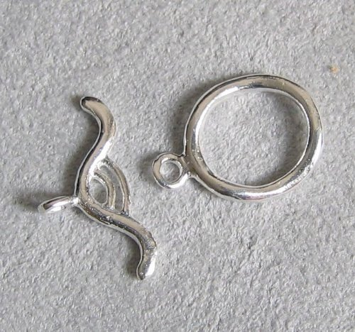 2 sets .925 Sterling Silver Oval Bead Toggle Clasp (12 Sterling Silver Toggle Clasp)