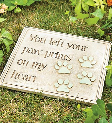 Plaque Stone Cast - Wind & Weather YD7022 Cast Resin Paw Prints Garden Plaque, B, 12