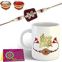 Tonkwalas Mug Rakhi Gift for Brother Combo Pack (Designer Rakhi, Printed Coffee Mug, Rakshabandhan Roli Chawal)