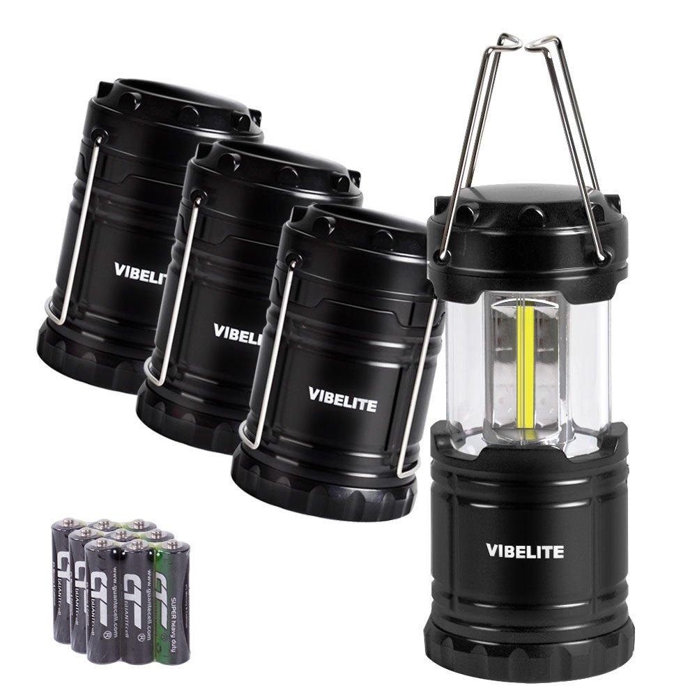 VIBELITE Led Lantern,Camping Lantern Collapsbile COB light with 12 AA Batteries Survival Kit for Emergency IP54 for Hiking Emergencies Hurricanes 4 Pack Black by VIBELITE
