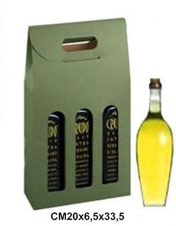 Caja para 3 botellas vino/aceites pequeñas, cm 20 x 6,5 x