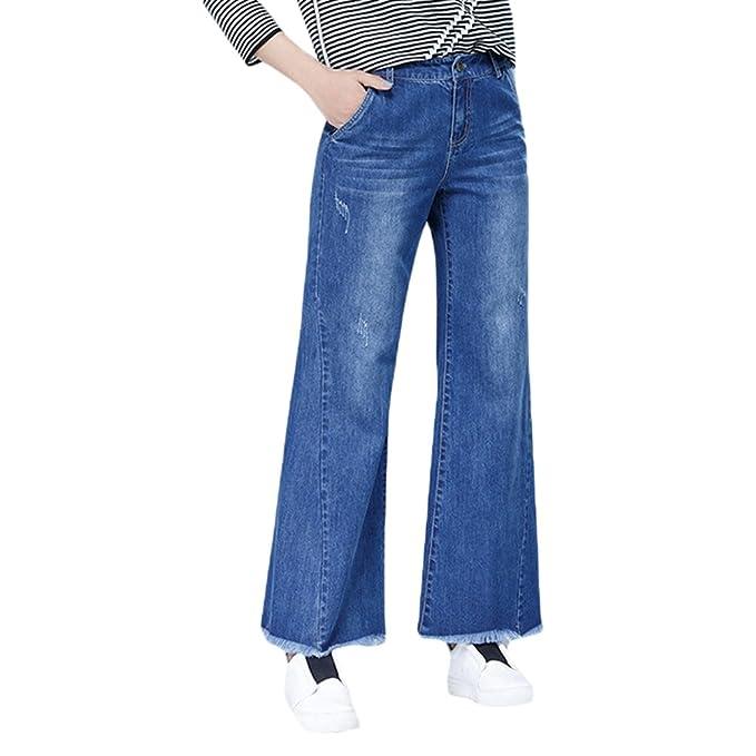 LINNUO Pantalones Vaqueros Anchos Pantalon Jeans Vaqueros de ...