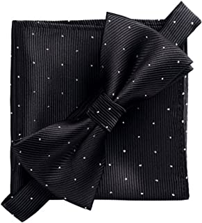 Men's Fashion Silvery Dots Pre-tied Bowtie Pocket Square Set (Plaid Orange)