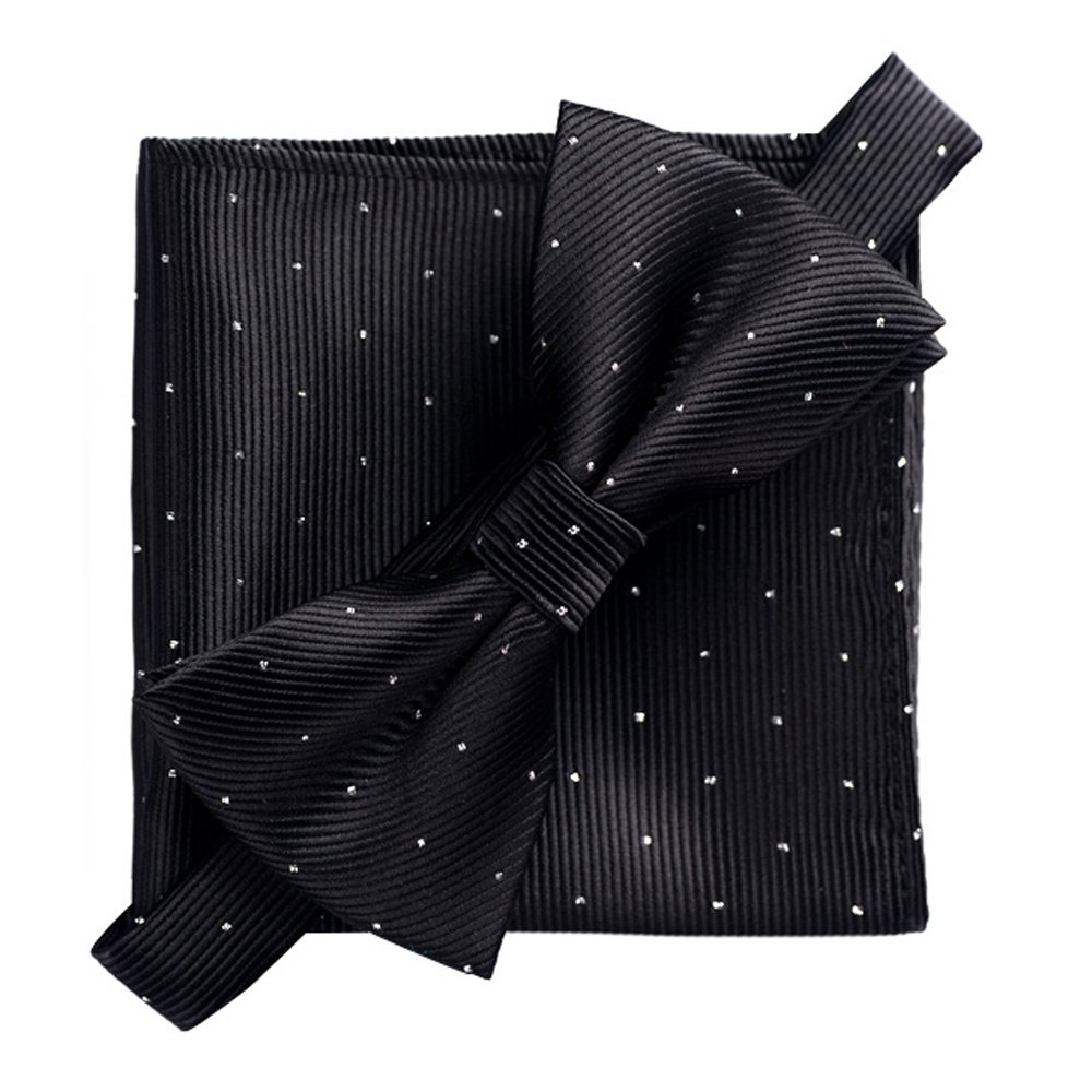 Men's Fashion Silvery Dots Pre-tied Bowtie Pocket Square Set (Pink) HongJi e-Commerce