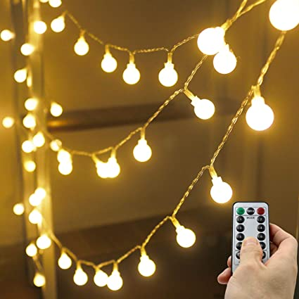 Xingpold Outdoor Battery Operated String Lights 33ft 100led 8modes Globe Indoor Lights String Waterproof With Remote Timer Battery Powered String