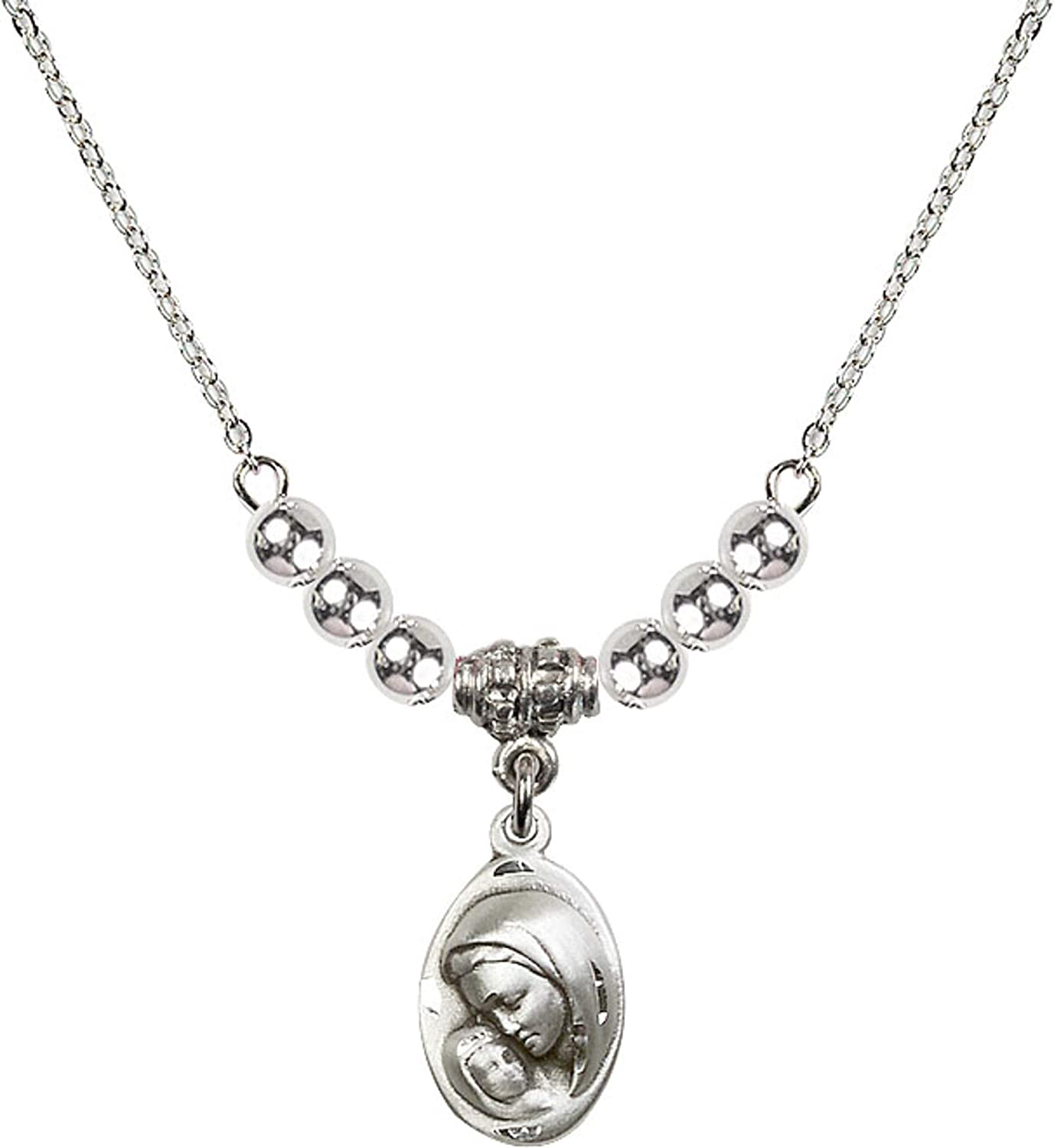 Bonyak Jewelry 18 Inch Rhodium Plated Necklace w// 4mm Sterling Silver Beads and Madonna /& Child Charm