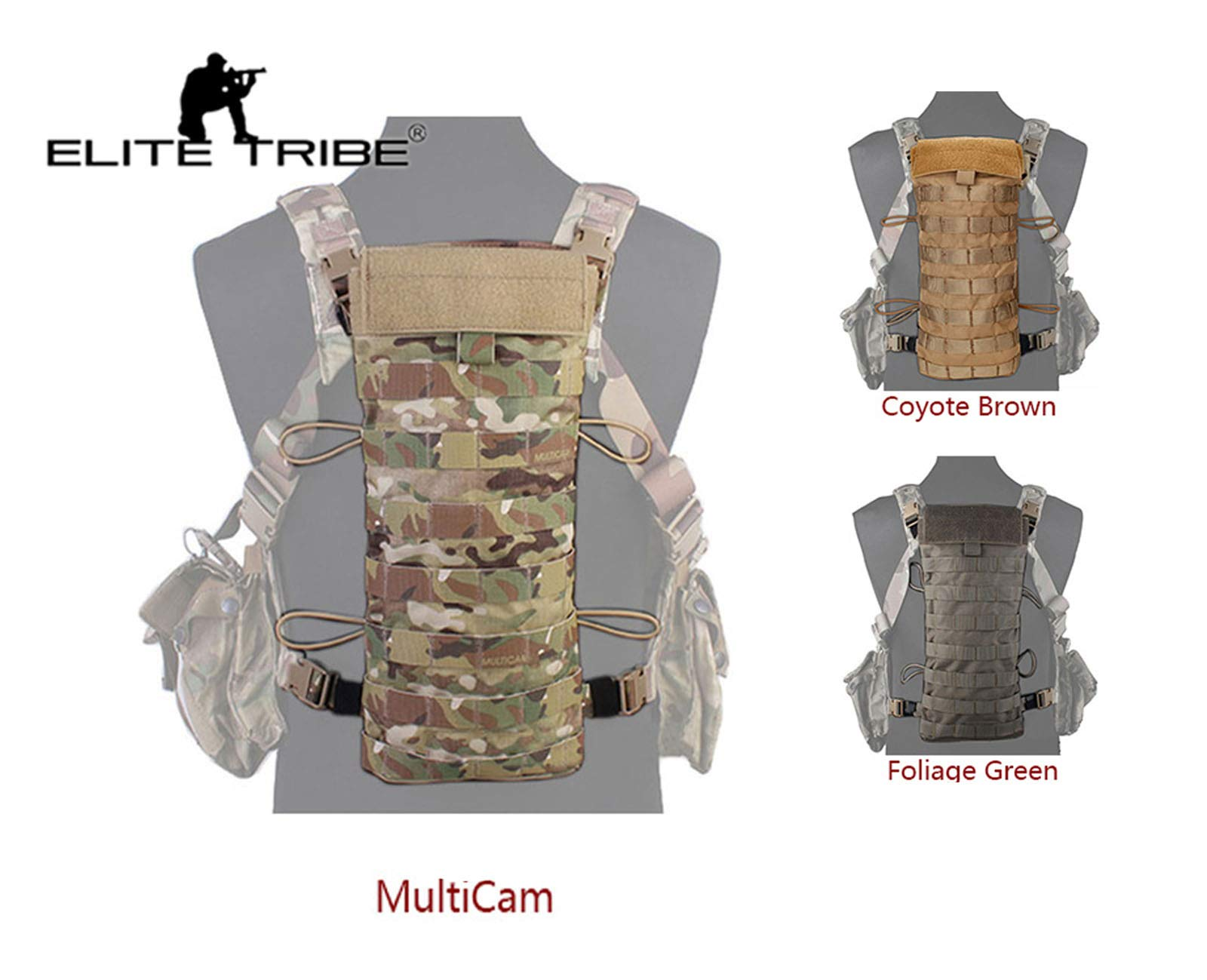 Elite Tribe LBT2649E Style 2.5L Hydration Back Panel Water Bag Army Multicam