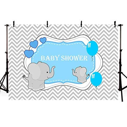 MEHOFOTO Baby Shower Photo Studio Background Gray Wave Blue Prince Boy  Balloon Elephant Love Party Backdrops Banner for Photography 7x5ft