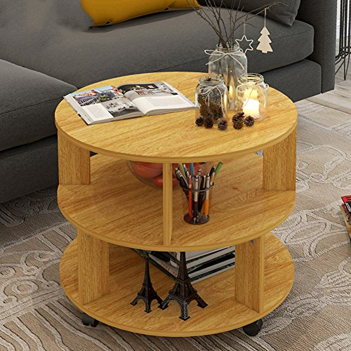 D&L Nordic Round Three floors Side table, Solid wood With wheels End table Sofa table Telephone table Coffee table Storage rack-log A W60xH48cm