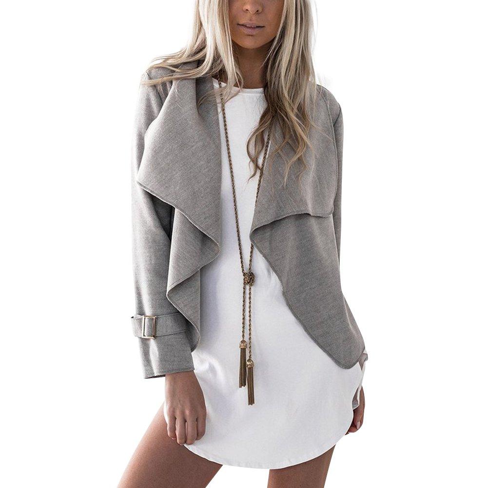 BOHISEN Women's Long Sleeve Lapel Collar Open Front Blazer Drape Jacket Cardigan Coat Grey S