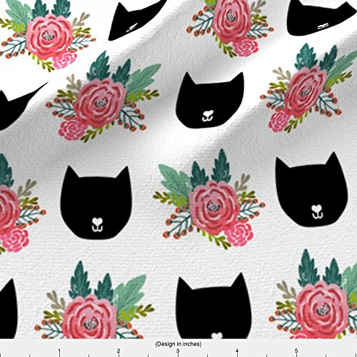 Cat Head Fabric Cat Head Silhouette Cute Florals Girls Flowers Floral Print For Girls by Petfriendly Printed on Minky Fabric by the Yard by - Head Cat Silhouette