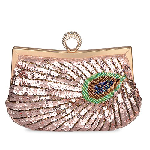 Rhinestone Baglamor Clutch Purse Handbag Champagne Women Evening Shining Peacock Embroidery Beaded Full Sequins Bag qSXgwxrfS