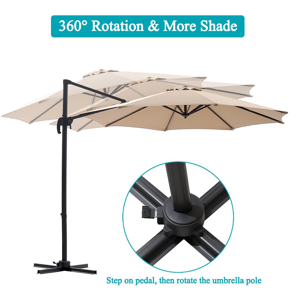 SUPERJARE 10 FT Offset Hanging Umbrella, Outdoor Patio Cantilever with Tilt Canopy, Crank Lift & 5 Lock Positions, 360° Rotation - Beige by SUPERJARE (Image #4)