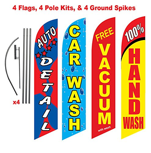 [4-Pack Car Wash Sign] Car Wash Advertising Package (Auto Detail, Hand Wash, Vacuum, Car Wash) Feather Flag Banner Swooper Flag Kits w/Poles & Spikes Review
