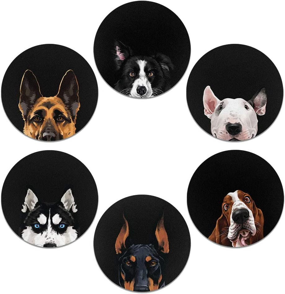 CARIBOU Coasters, Dog Face (group 4) Design Absorbent ROUND Fabric Felt Neoprene Car Coasters for Drinks (2.87 inches), 6pcs Set