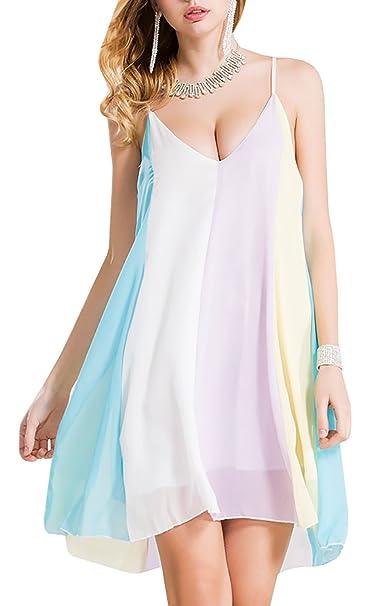 8162fc00ac2 Farktop Women s Plus Size Summer Chiffon Tunic Dress Color Block Slip Beach  Mini Dress at Amazon Women s Clothing store