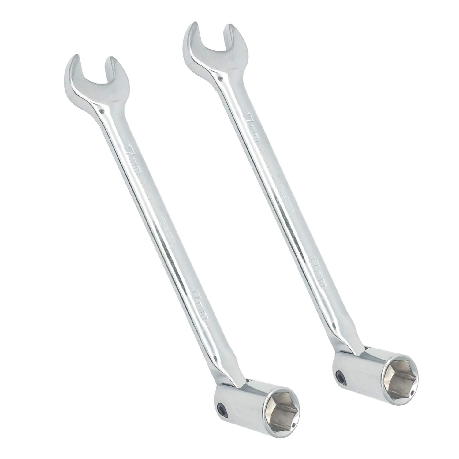 14mm COMOK Metal Double Headed Flex-Head Open End Hex Socket End Wrench Combination Spanner Silver Tone