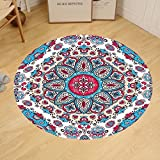 Gzhihine Custom round floor mat India Henna Style Floral Circles Paisley Retro Kaleidoscope Image Bedroom Living Room Dorm Turquoise Hot Pink and Light Pink
