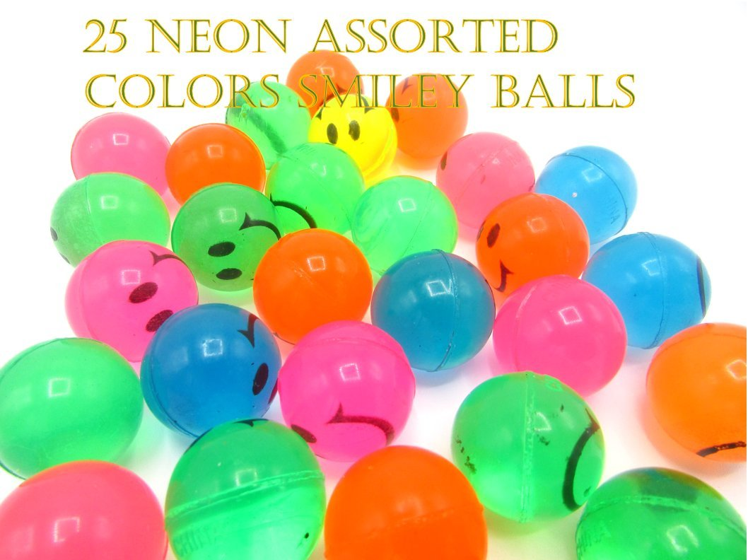 Mini Super Bouncy Rubber Ball with Smiley Face Set of 25 Assorted Colors and Sizes of Super Bounce Ball Party Favors 25 Pack Kid's Birthday Party | BBQ | Beach | Camping Size 1 inch