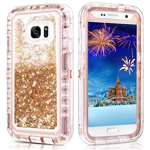 Galaxy S7 Case,Wollony 360 Full Body Shockproof Liquid Glitter Quicksand Bling Case Heavy Duty Phone Bumper Soft Non-Slip Clear Rubber Protective Cover for Samsung Galaxy S7 (Rose Gold)