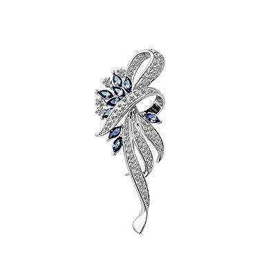 Broche pin con incrustaciones y joyas azules para Mujeres, Muchachas, Señoras.