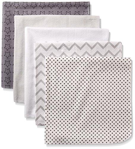 Rene Rofe Baby 5 Piece Flannel Blanket Set, Shades of Grey S