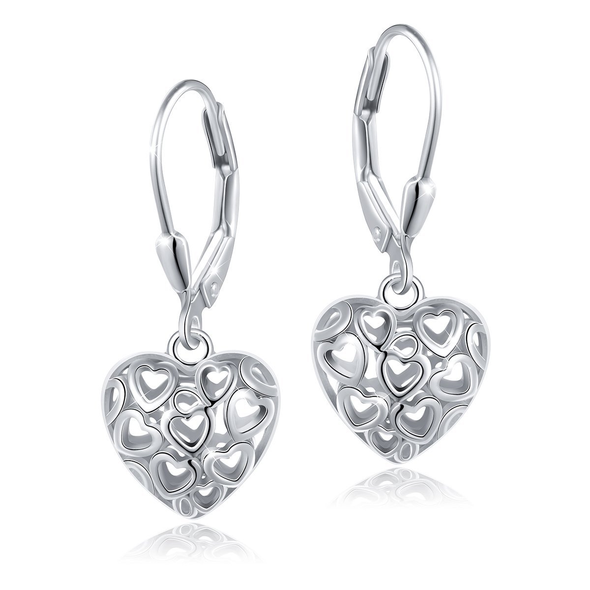 SILVER MOUNTAIN S925 Sterling Silver Heart Dangle Drop Leverback Earrings for Women Girl Mother